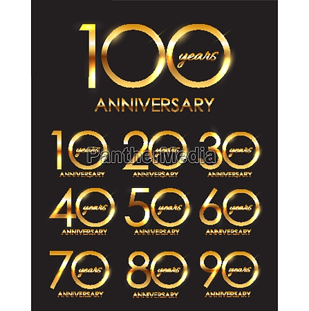 template set of anniversary vector illustration