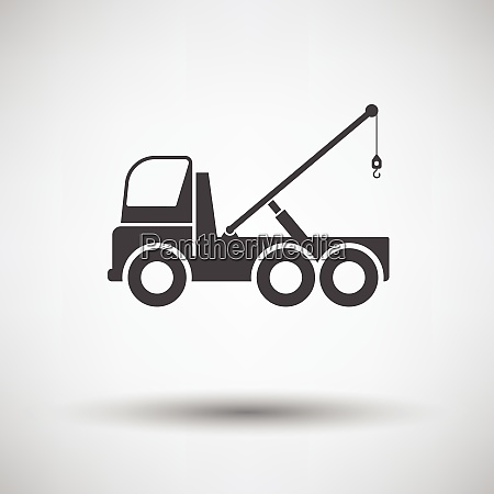 car towing truck icon on gray