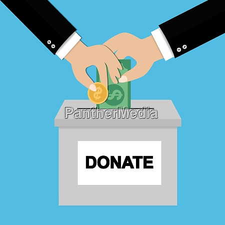 donation concept hand putting money bill