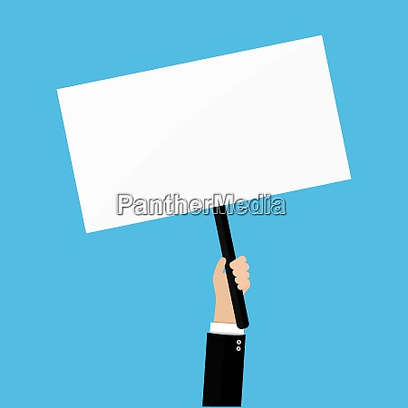hand holding placard with empty space