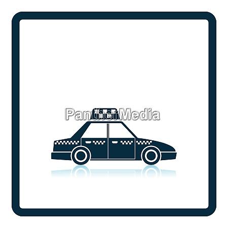 taxi car icon shadow reflection design