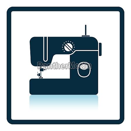 modern sewing machine icon shadow reflection