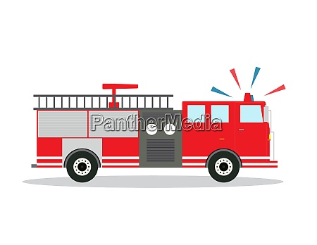 colored fire truck with siren flat