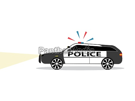 colored police car with siren flat
