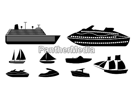 set of different types of boats