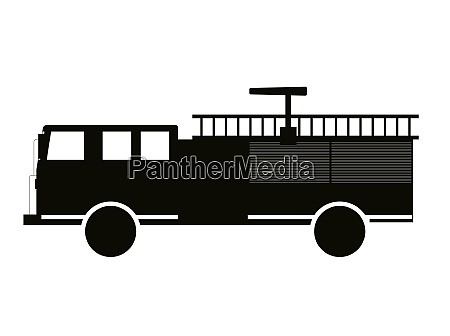 black and white fire truck flat