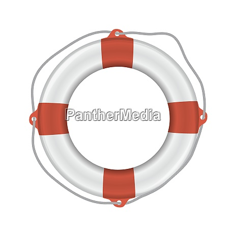 white lifebuoy with red stripes and