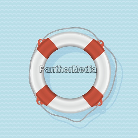 red lifebuoy on a blue background