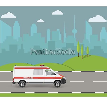 ambulance car city landscape with skyscrapershospital