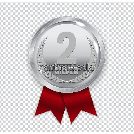 champion art silver medal with red