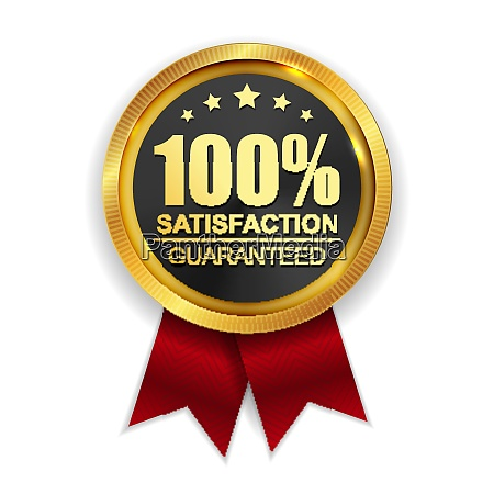 100 satisfaction guaranteed golden medal label