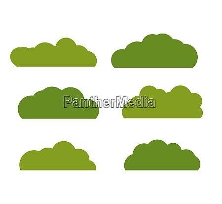 green bush landscape flat icon isolated