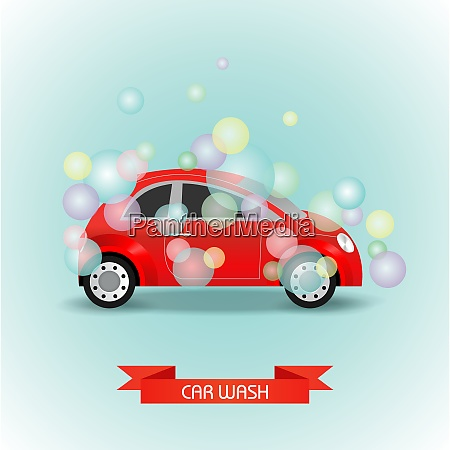 car wash vector illustration the car