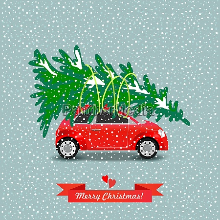 red car carries the christmas tree