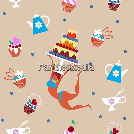 seamless pattern girl and confectionery vector