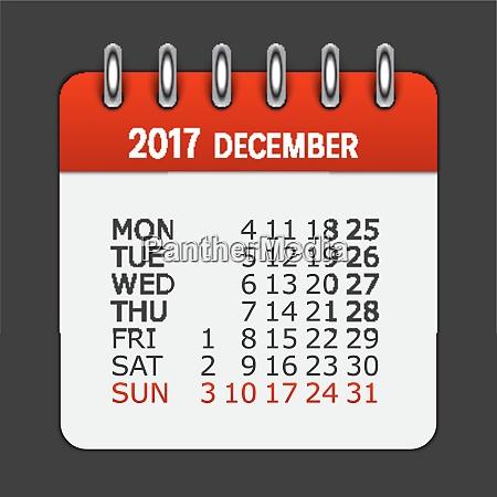 december 2017 calendar daily icon vector