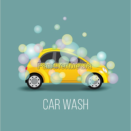 car wash vector illustration the yellow