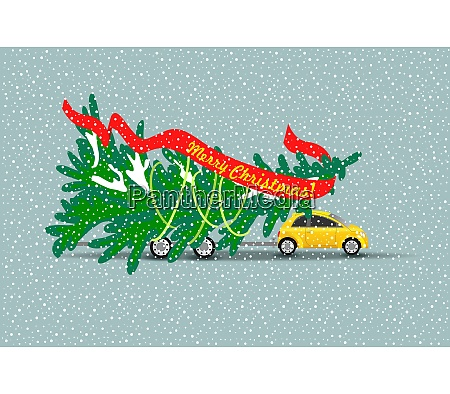 merry christmas the yellow car carries