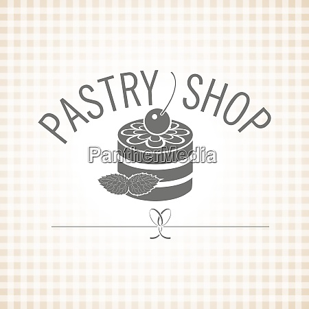 confectionery pastry shop vector monochrome logo