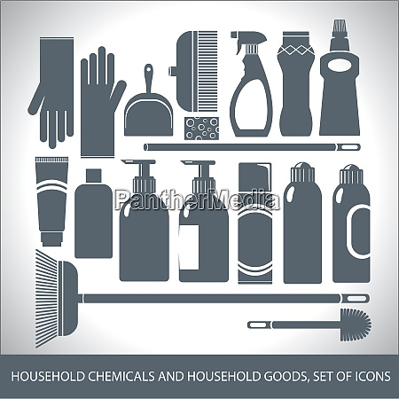 household chemicals and household goods set