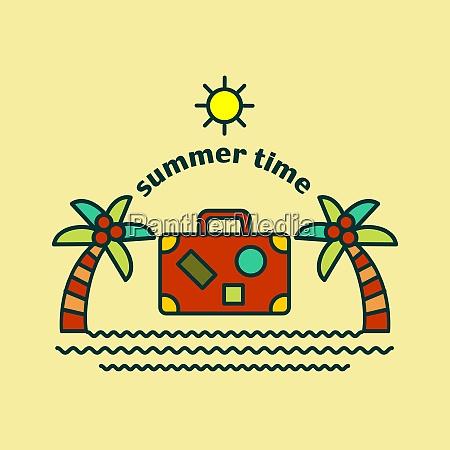 summer time logo vector illustration palm
