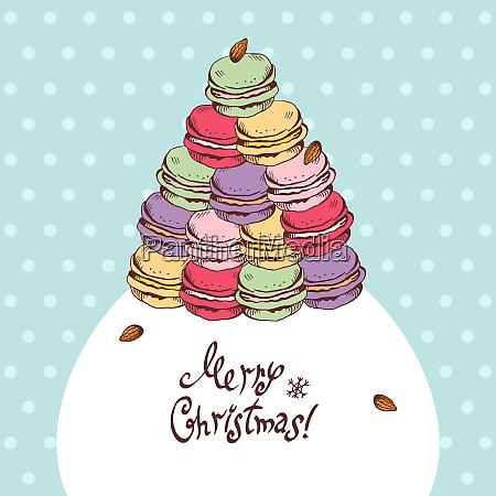 vector christmas card with cartoon macaroons