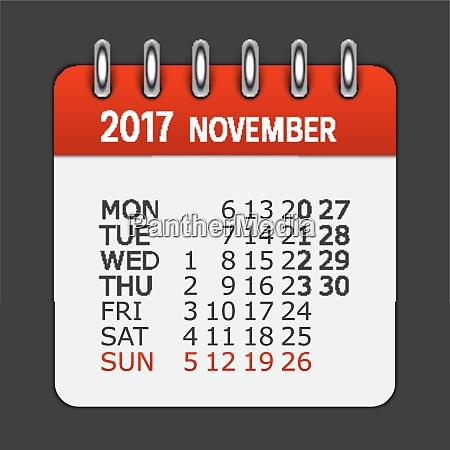november 2017 calendar daily icon vector