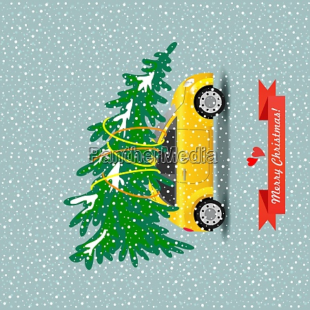 merry christmas vector illustration the yellow