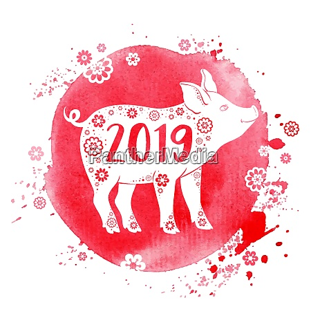 cute pig symbol of chinese zodiac