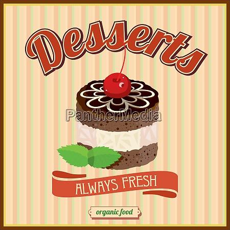 desserts confectionery vintage vector illustration