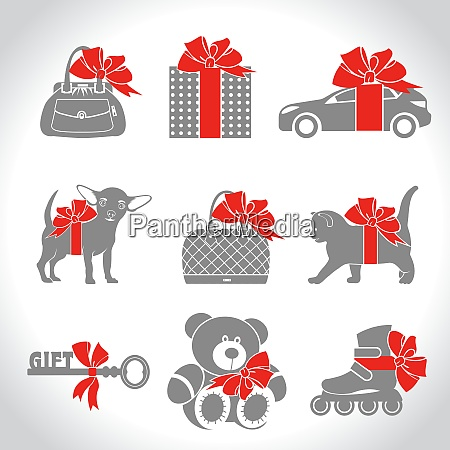 set of vector icons gifts kitten