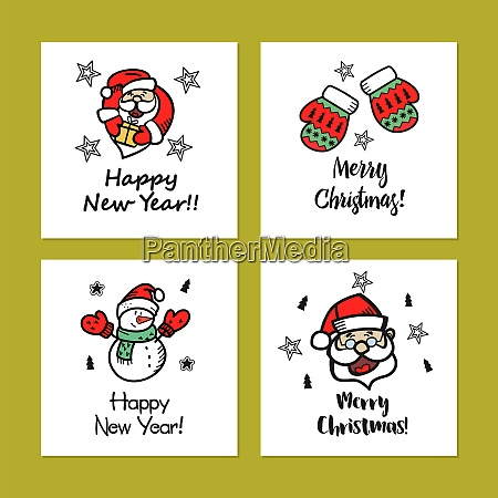 a set of christmas cards drawn