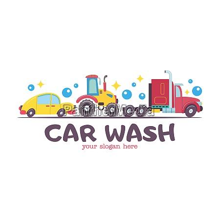 emblem truck car wash vector illustration