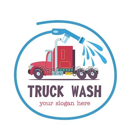 emblem truck car washvector illustration in