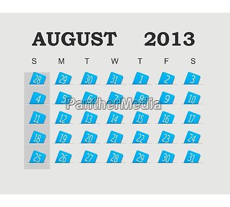vector calendar 2013 blue august vector