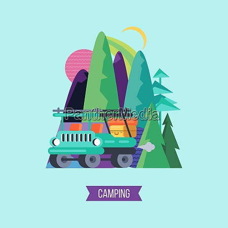 travel by car to nature vector