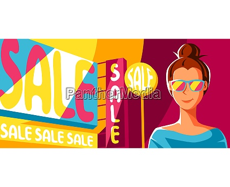 cute girl goes on shopping illustration