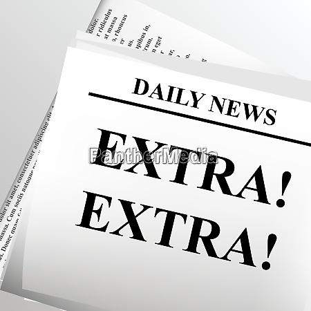 newspaper headline extra extra vector illustration