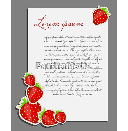 strawberry background blank page vector illustration