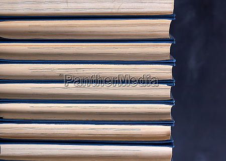 stack of books with a blue