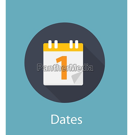 dates flat concept icon vector illustration