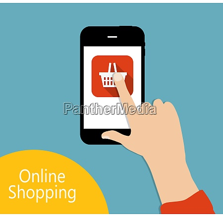 online shopping flat concept vector illustration