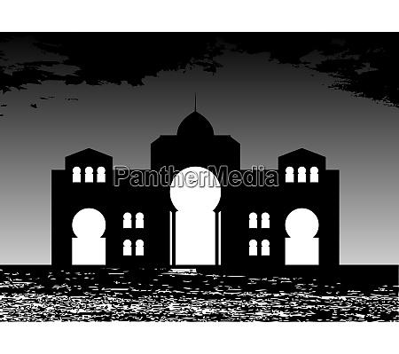silhouette of arab buildings sea clouds