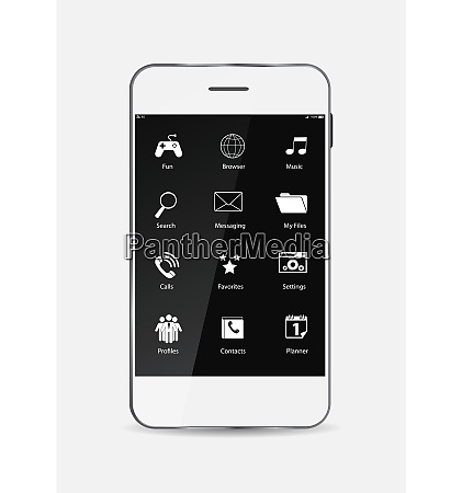 white mobile phone with icons on
