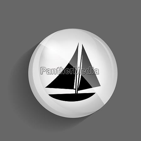 ship glossy icon vector illustration on