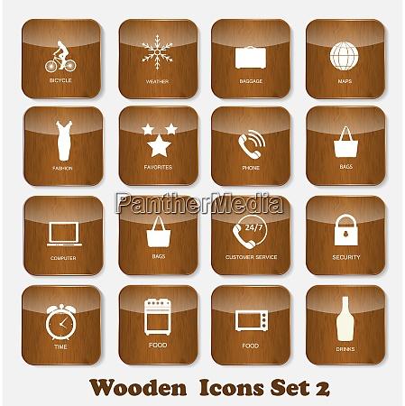 wooden application icons set vector illustration