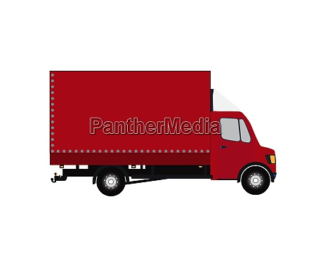 red small truck silhouette vector illustration