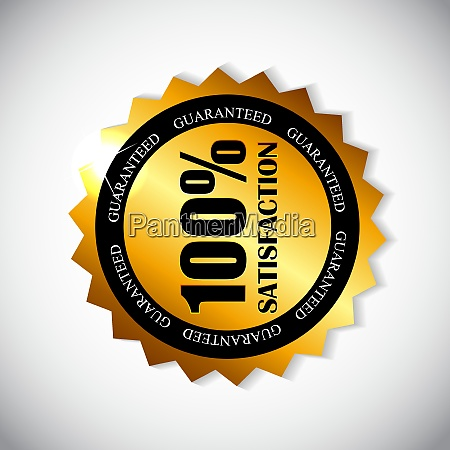 golden label satisfaction isolated vector illustration