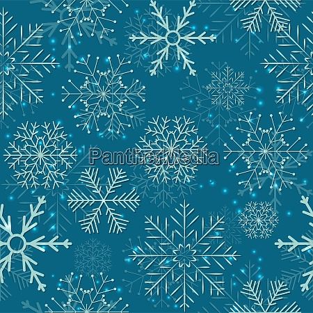 seamless snowflakes on blue background vector