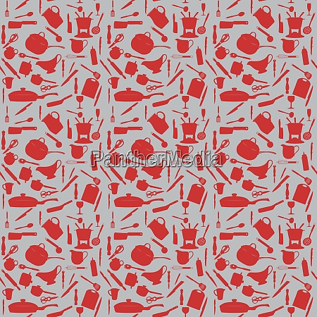 kitchen tools silhouette seamless pattern vector